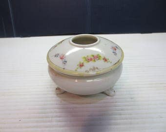 Vintage Porcelain Hair Receiver Vanity Bowl Accented With Gold Nippon Circa 1891