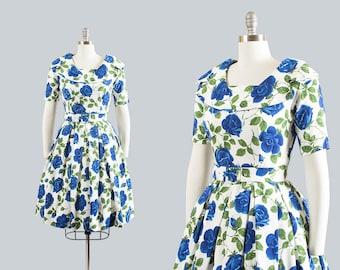 Vintage 1950s Dress | 50s Rose Floral Print Cotton Blue White Full Skirt Shawl Collar Belt Day Dress (small)