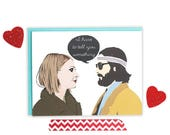 Moving SALE Anniversary Card, Valentines Day Card, Margot And Richie, Pop Culture Cards, Personalized, Couples, Hand Lettered, I Love You,