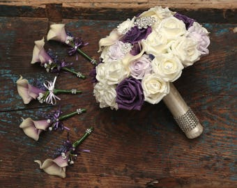 Wedding brooch bride  bouquet  with buttonholes