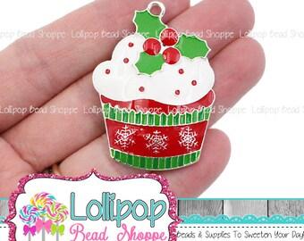 Christmas Cupcake Enamel Pendant, Cupcake Charm, Red Green White Holly Snowflake, Enamel Charm, Chunky Bubblegum Pendant 45mm EAP17