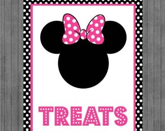 FLASH SALE Minnie Mouse Birthday Sign, Treat Sign,  Black, Pink