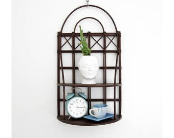 Antique Bentwood Shelf // Dark Grid Wood Wall Shelf // Plant Stand // Vintage Wall Decor