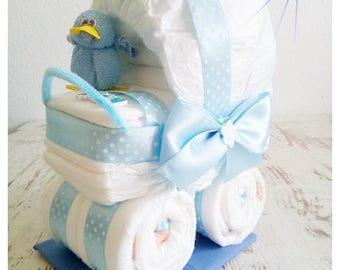 Poussette landau bleu canard de couches