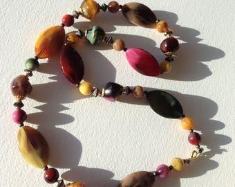 Necklace - plastic  irregular shaped beads necklace bright multi colours