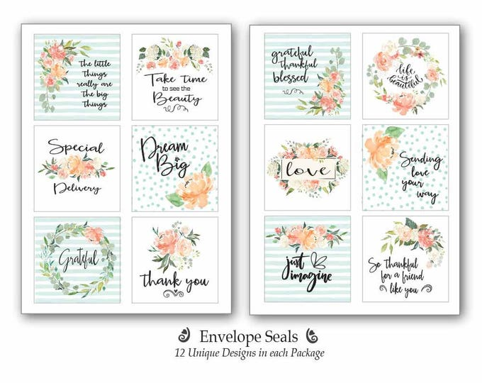 24 Envelope Seals | Inspirational Labels | Best Friend Gift | Gift for Friend | Gifts for Sister