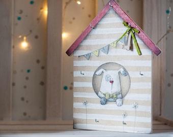 Wall Key Holder WHITE DOG and HOUSE, Family Key Organizer, Wall Decor, Key Hanger, Love gift, Housewarming Gift, Illustration on Wood