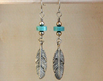 Faux Turquoise and Silver Feather earrings, Turquoise silver feather earrings, Feather earrings