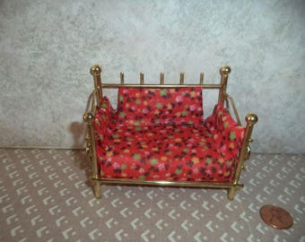 1:12 scale Dollhouse Miniature Brass plated daybed