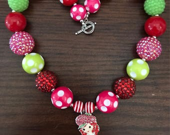 Strawberry Shortcake inspired Bubble Gum Necklace (Child/Toddler).