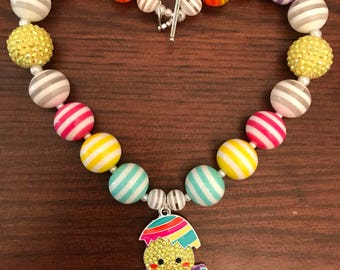 Easter Chick in Egg ot Bunny Holding Hot Pink Egg Bubble Gum Necklace (Child/Toddler).