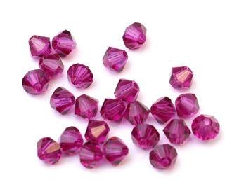 Fuchsia 4mm - 24 Pieces Clear Authentic Swarovski Crystal Bicone Beads Fushia Fushcia