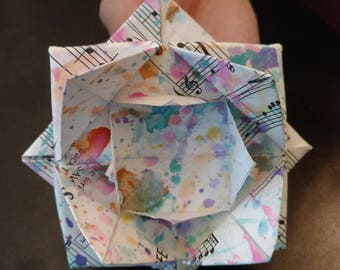 painted, music sheet origami flowers