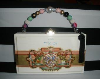 Le Bijou Crown Cigar Box Purse, Crown Brooch, Velvet LIned, Authentic, Tampa- Gorgeous!