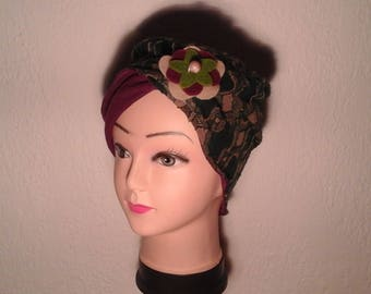 Chemo Hat stretchy reversible multicolored woman, girl for the winter
