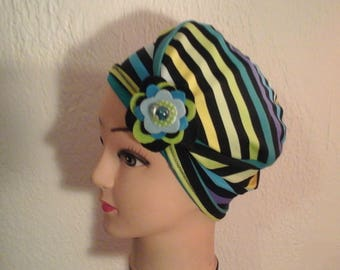Hat chemo reversible, stretch, summer, mid wife, daughter striped