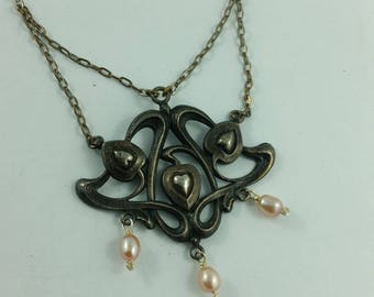 Antique Art Nouveau Sterling Silver Lavalier  Necklace with Pink Pearls