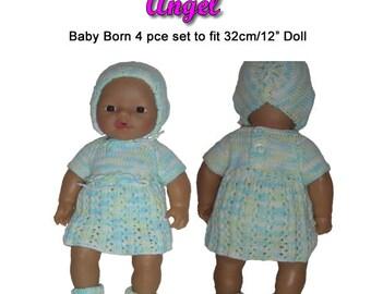 Baby Born Knitting Pattern (ANGEL) fits 12 inch/32cm dolls