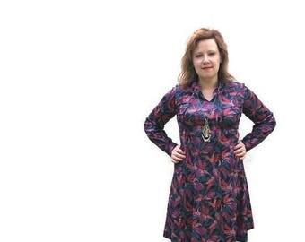 80s boho vintage dress / 80s skater dress / long sleeves midi dress / purple red pink patterns / 1980s quirky dress