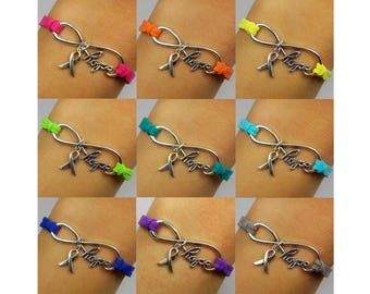 Hope Infinity Cancer Awareness Ribbon: 9+ Colors Available (Send message for bulk) -- Adjustable Leather Soft Suede Bracelet