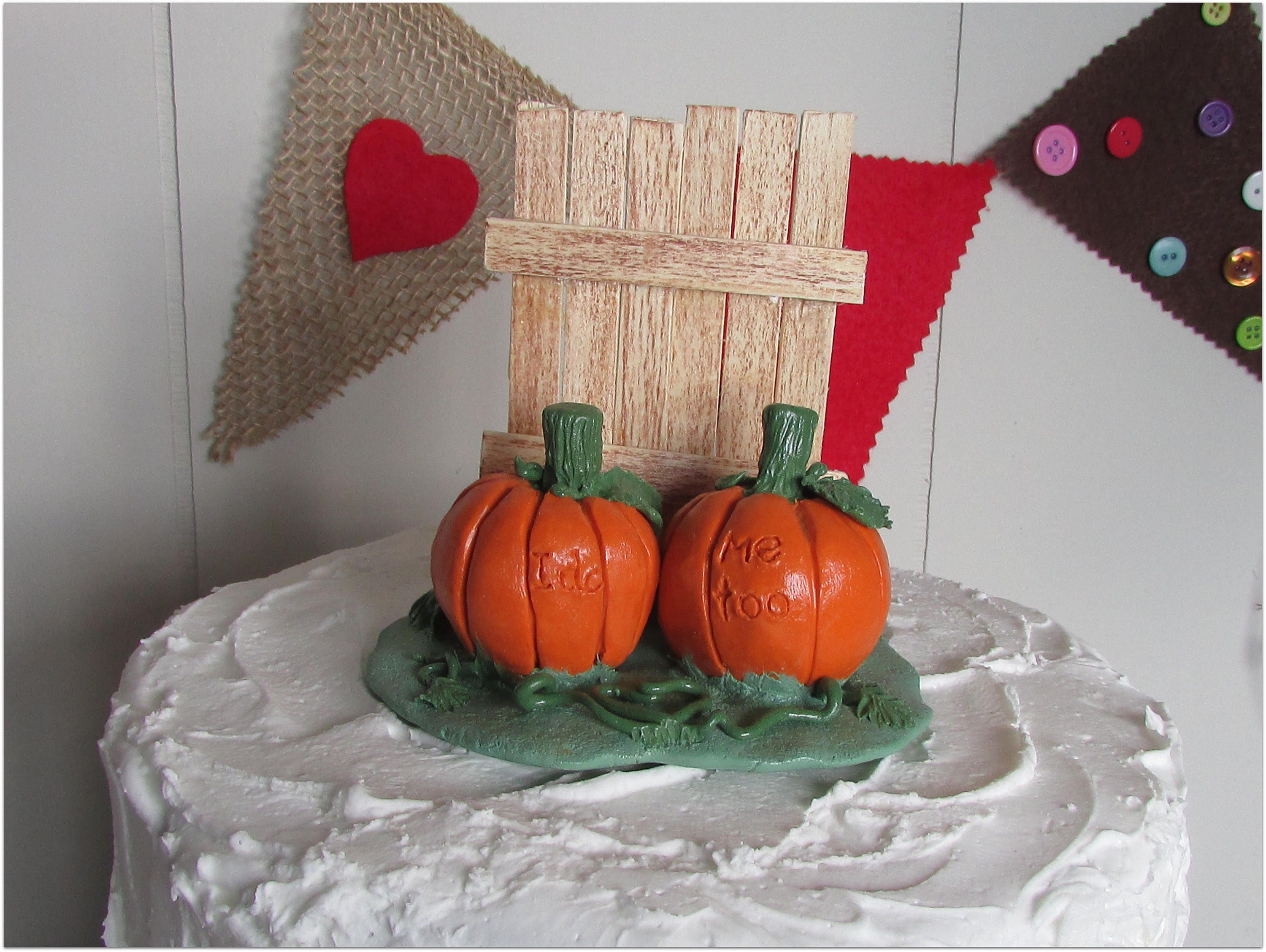 pumpkins amp rustic fence wedding cake topper pumpkin cake