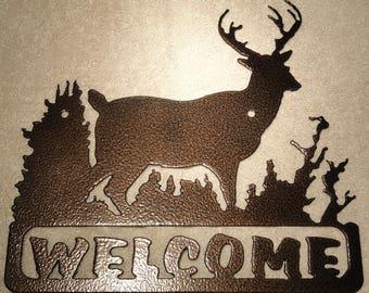 Deer Welcome Sign Metal Wall Art Home Decor