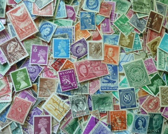 500 Stamps - Colors -  Massive Lot of 500 Worldwide Stamps for Decoupage, Paper Crafts, Collage and More...