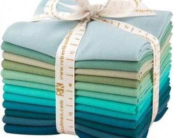 12 Kona Cotton Fat Quarters Midnight Oasis Blue Green FQ-923-12 Quilt Fabric Fat Quarter Bundle