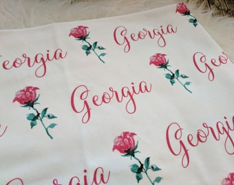 Personalized red rose baby name swaddle blanket set: baby and toddler personalized name newborn hospital gift baby shower gift