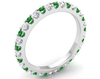 Eternity Wedding Ring | Natural Emerald Wedding Ring | Emerald Anniversary Ring | Eternity Anniversary Ring | Eternity Ring | Emerald Ring