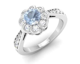 Natural Aquamarine Ring | Aquamarine Engagement Ring With Diamond | 14K White Gold | Flower Design | Halo Engagement Ring | Women's Jewelry