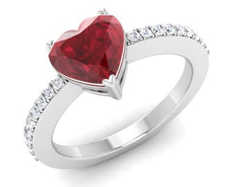 Heart Shaped Ring, AAA Ruby Engagement Ring, 14K White Gold Ring, Anniversary Gift Ring, Wedding Ring, Ruby Gold Ring, Promise/Propose Ring