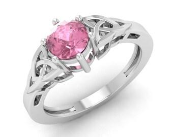 Pink Tourmaline Engagement Ring, 14K White Gold, Solitaire Engagement Ring, Wedding Ring, Pink Birthstone Ring, Christmas Gift, Pink Ring