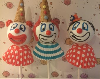 "12 ""Whiteface"" only Circus Clowns cake pops"