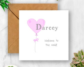 Personalised Balloon Baby Card, New Baby Card, Baby Girl Card, Baby Boy Card, Card for New Baby, Card for Baby Girl, Card for Baby Boy