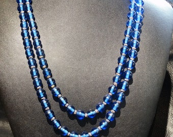 Mandarin Court Necklace 2 Cobalt Peking Glass 47 Inches 1800s