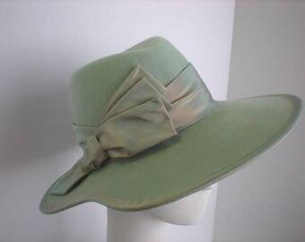 Women's Ladies Menswear Warm Wool Felt Wide Brim Fedora Hat in Soft Mint Green for Winter