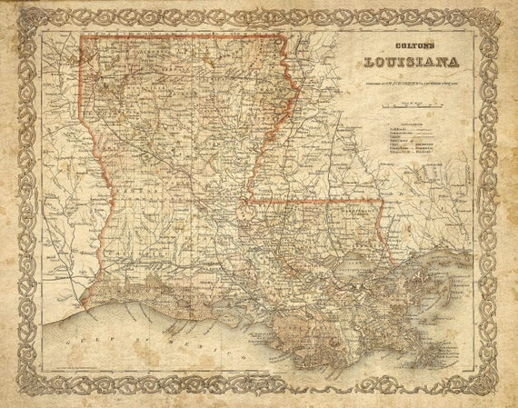 Colton's 1886 Old Louisiana Map Historic Map Antique Restoration Hardware Style Map Wall Map Vintage Louisiana Map Home Decor Cool Gift Idea