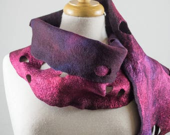 Burgundy Purple Felt Scarf | felted scarf | Hand Dyed scarf| Nuno felt scarf| Gift | Felted scarf | Lacy scarf| silk | Unique Style| Orange