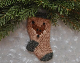 Fox Christmas Stocking Ornament Hand-Knit