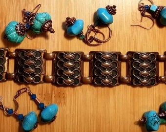 Vintage copper link bracelet/ textured copper bracelet, bracelet only