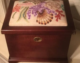 Vintage Needlepointed Top Nell Marr Mahogany Chest