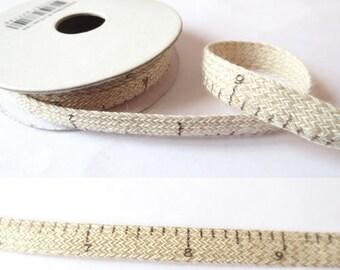 1.8 m x Ribbon cotton fancy 10mm printed linen