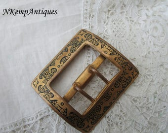 Antique enamel buckle