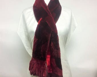 Real Fur Canadian |black and red scarf