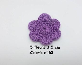 5 color No. 63 in Mercerized cotton crochet flowers