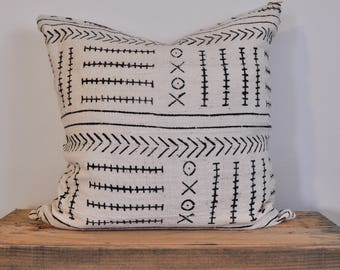 African Mudcloth pillow white and black | White Mudcloth Pillow | Mudcloth Pillow | White with Black | Mudcloth