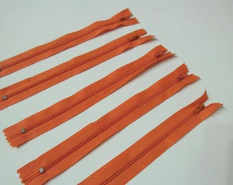 Orange set of 5 zippers 20cm