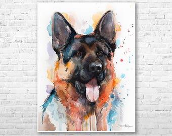 German Shepherd watercolor painting print by Slaveika Aladjova, animal, illustration, home decor, Nursery, Contemporary, dog art, wall art
