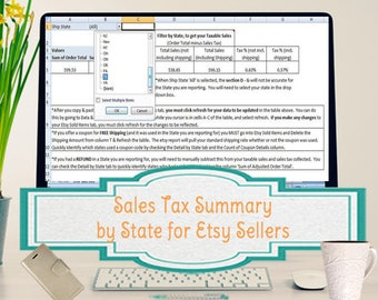 Sales Tax Summary Spreadsheet for Etsy Sellers, Template Summarizes Your Sales Taxes Collected by State
